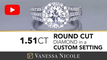 Round Cut Diamond with 3 Row Diamonds Ring - Vanessa Nicole Jewels