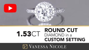 Round Cut Diamond with Halo Engagement Ring for Stefanie - Vanessa Nicole Jewels