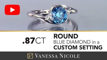 Round Cut With Blue Diamond Twist Ring for Jana