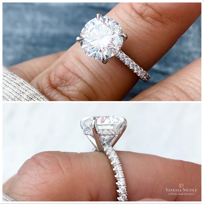 round brilliant diamond in micro pave eternity band setting