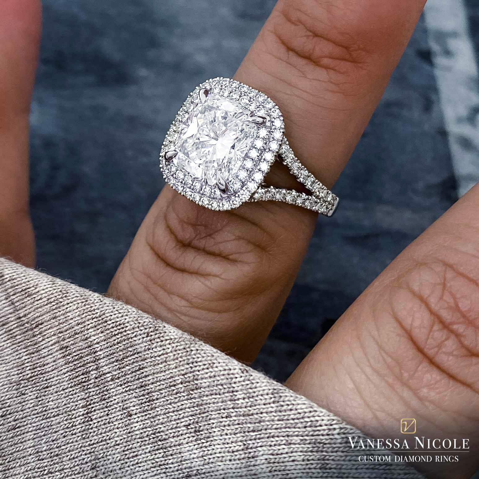 cushion cut diamond in double halo platinum micro pave setting
