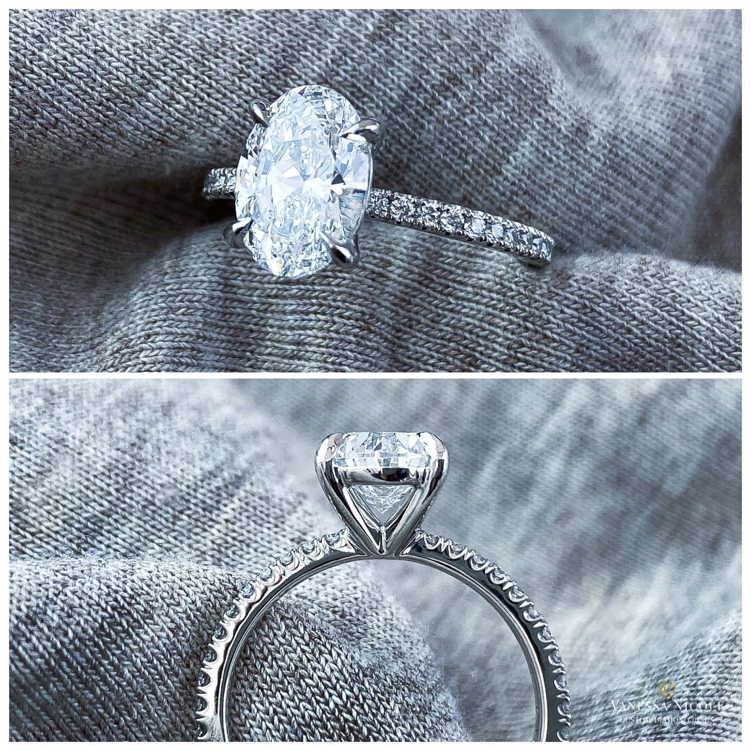 oval cut diamond in platinum micro pave band