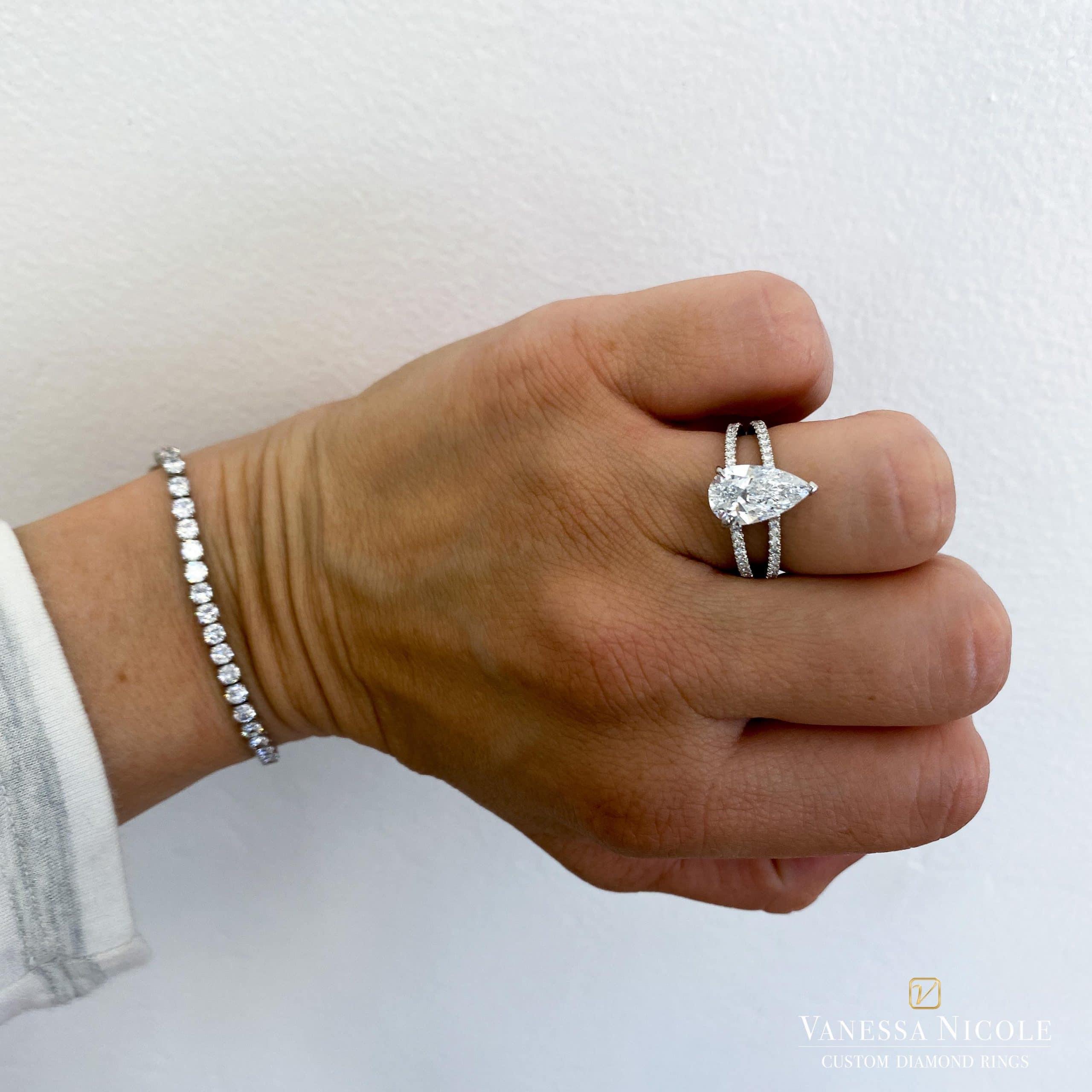 pear shaped diamond in platinum setting